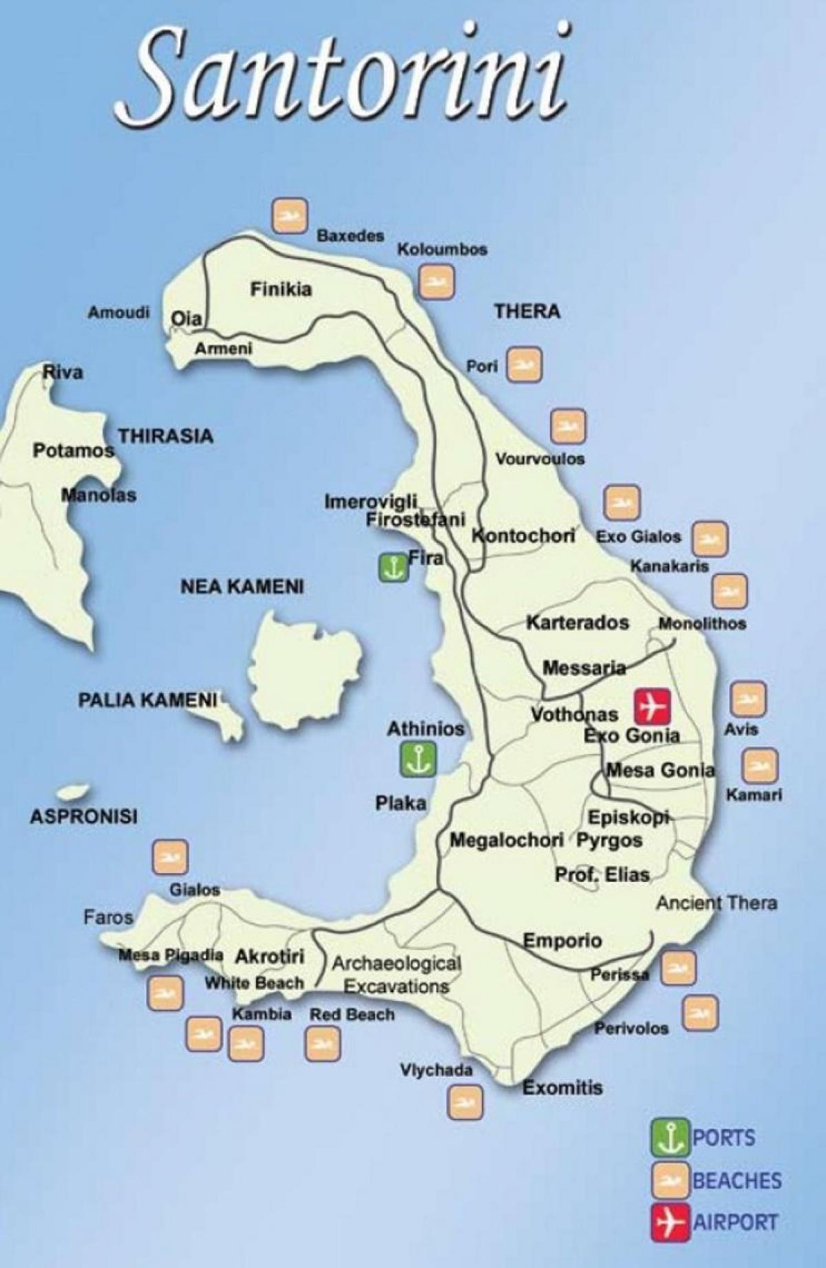 Mga Griyego Na Isla Mapa Santorini Map Ng Mga Griyego Na
